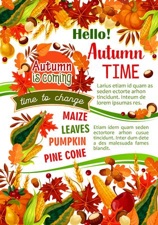 Hello Autumn banner of fall harvest celebration.