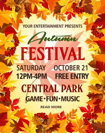 Autumn vector party festival invitation poster