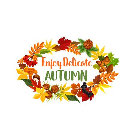 Autumn seasonal harvest vector greeting poster