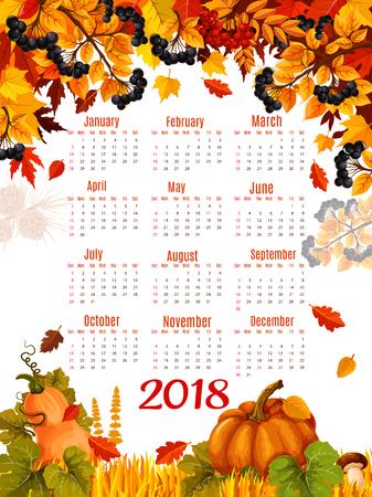 Herfst vector 2018 kalender sjabloon dalende blad Stock Illustratie