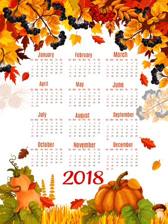 Autumn vector 2018 calendar template falling leaf