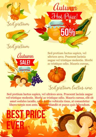 Autumn harvest season sale poster template design