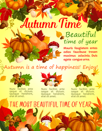 Autumn nature, fall season poster template design Illusztráció