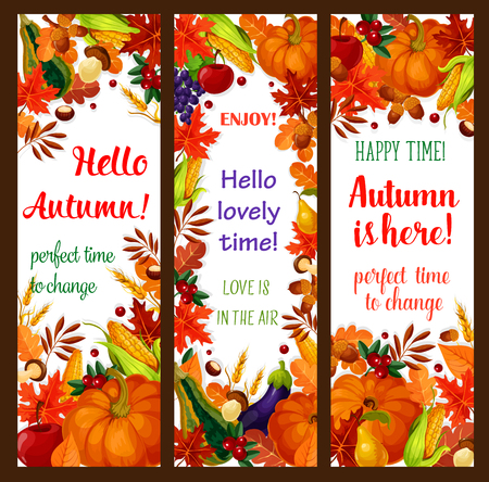 Autumn season banner set with fall harvest frame Illustration