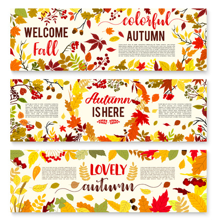 Welcome autumn banner set with fall leaf wreath Stock fotó - 83853474