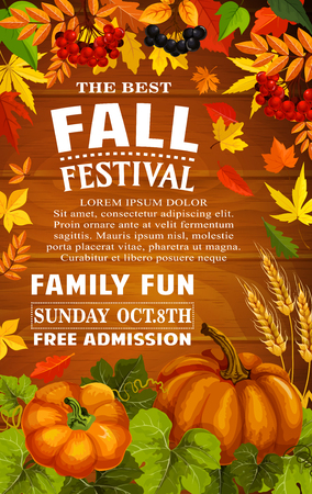 Fall festival poster of autumn harvest template