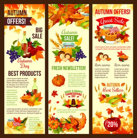 Herfst verkoop banner set van herfst oogst viering