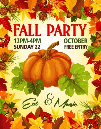 秋の季節の休日のチラシ テンプレートの秋パーティー招待ポスター。秋の 10 月イベントのバーチと栗の秋オークの葉、どんぐりの葉にベクトル カ