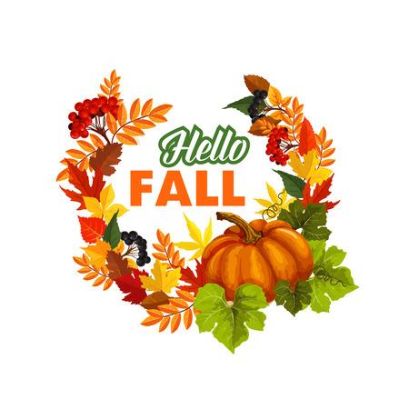 Autumn seasonal greeting card of Hello Fall quote and pumpkin or rowan berry harvest on foliage wreath. Vector poplar, aspen or birch and chestnut autumn leaf, oak acorn for fall holiday design Çizim