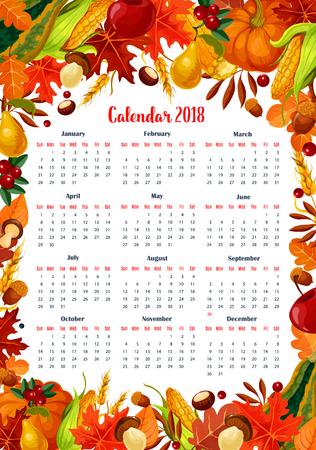 Autumn seasonal calendar 2018 template. Vector design of maple leaf, oak acorn or pumpkin and forest mushroom harvest, garden apple or pear fruit and corn, chestnut or poplar autumn foliage leaves