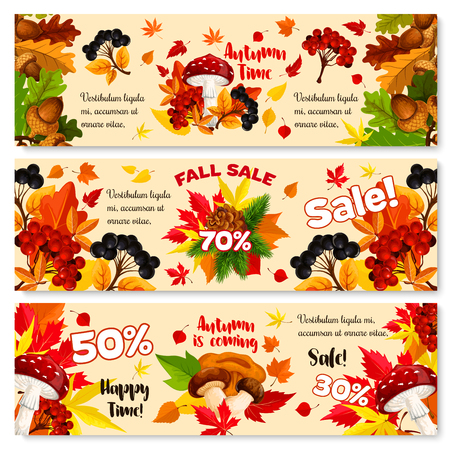 Autumn sale shopping banners for September seasonal discount promo of 50 and 70 percent off. Vector design set of autumn foliage maple, oak or elm and rowan tree leaf, berry harvest and mushrooms
