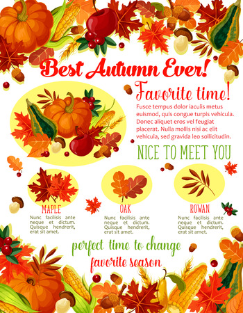 Autumn Time wishes quotes poster template for seasonal holiday greeting. Vector autumn harvest of pumpkin, corn or forest mushroom and rowan berries, maple or birch and poplar leaf fall and oak acorns Иллюстрация