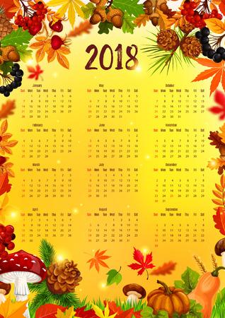 秋のリーフ フレームと 2018年カレンダー テンプレート