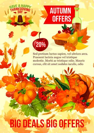 Thanksgiving verkoop banner van herfst korting aanbieding