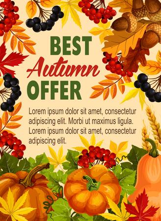 Autumn sale farm market vector discount poster Çizim