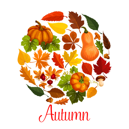 Fall season poster of autumn leaf and pumpkin