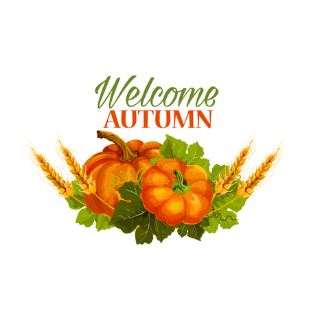 Autumn vector welcome fall pumpkin greeting poster