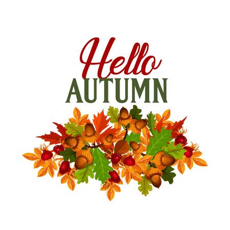 가을 계절 메이플 리프 foilage 벡터 포스터 일러스트