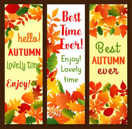 Herfst herfstbladeren vector banners set Stock Illustratie