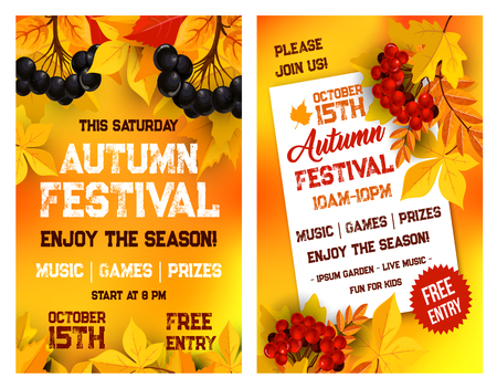 Autumn festival vector poster of leaf fall