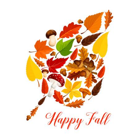 Folha de outono com cogumelo, folhagem caída, bolota Foto de archivo - 83853584