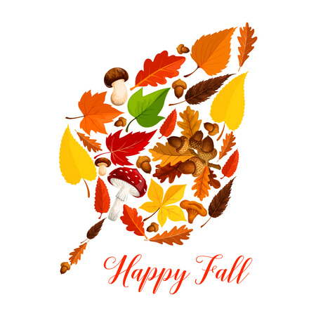 Jesienny liść z grzybem, opadłych liści, żołądź