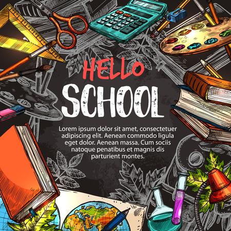 Hallo schoolaffiche met onderwijs levert frame