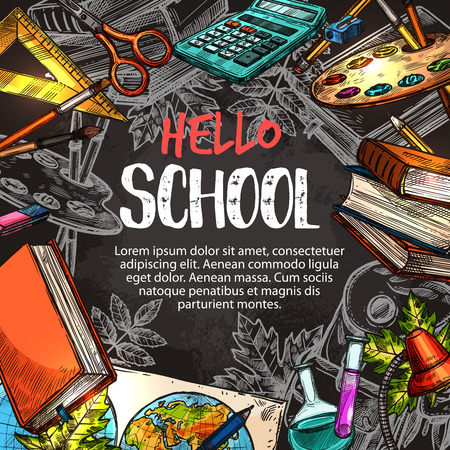 Hello school poster with education supplies frame