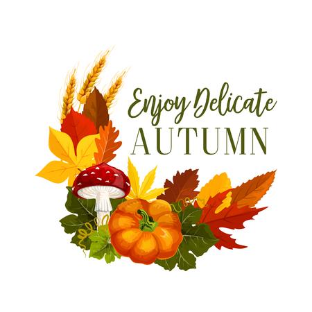 Autumn acorn leaf, pumpkin vector greeting poster