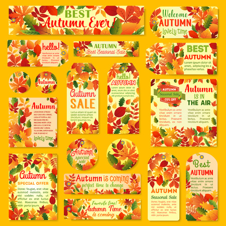 Autumn sale tag and label set with fall leaf Illustration