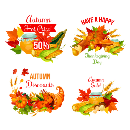 Autumn sale symbol set of Thanksgiving holiday Illustration