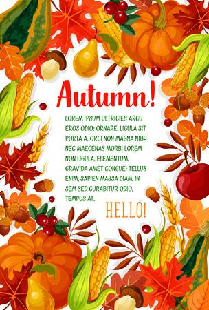 Hello Autumn poster with fall season leaf frame