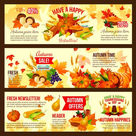 Herfst verkoop symbool set van Thanksgiving Day vakantie Stock Illustratie