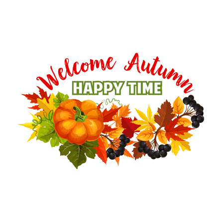 Autumn time fall harvest vector greeting poster
