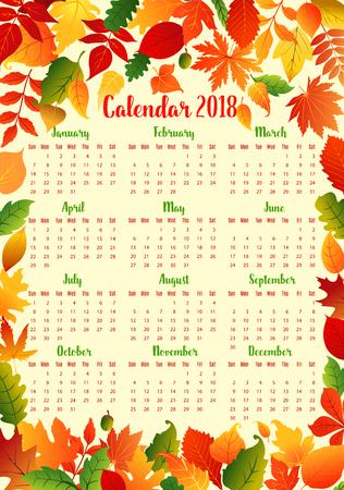 秋葉フレームと秋のカレンダー テンプレート