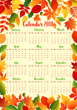 Autumn calendar template with fall leaf frame Imagens - 83853359