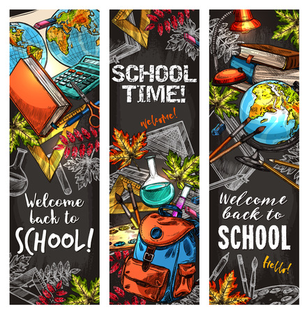 Back to school banner set for education design
