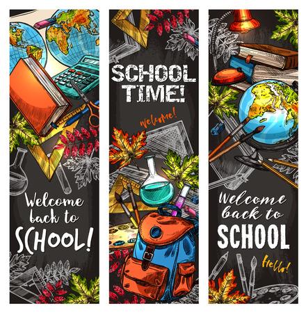 Zurück zu Schule Banner für Bildung Design Standard-Bild - 83853354