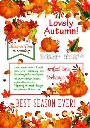 Autumn season leaf, fall harvest vegetable poster