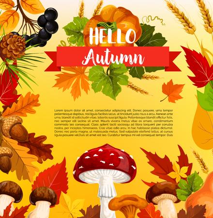 Hallo Herbst Poster Vorlage mit Herbst Saison Blatt Standard-Bild - 83853355