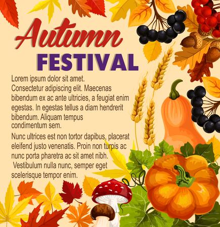 Herfst acorn blad, pompoen vector festival poster