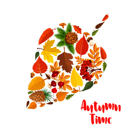 Autumn leaf poster with fall foliage, mushroom