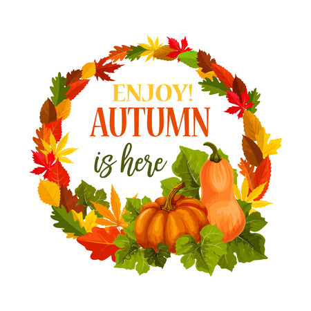 Autumn vector pumpkin harvest leaf greeting poster Illustration