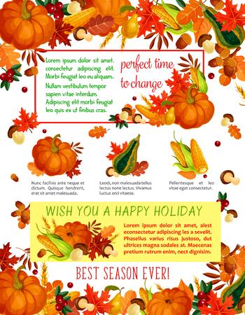 Herbst-Ernte-Feier, Thanksgiving-Poster Standard-Bild - 83853363
