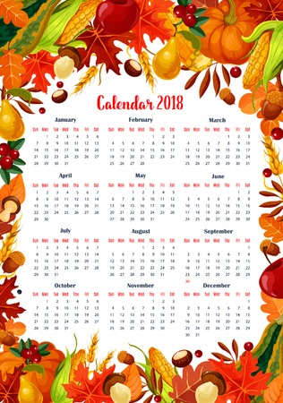秋の季節カレンダー 2018 テンプレート。トウモロコシ、栗やポプラの秋葉葉庭のリンゴや梨の果物やかぼちゃと森のキノコの収穫カシ ドングリ カエ