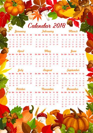 Herfst oogst kalender 2018 sjabloon van seizoensgebonden pompoen, maïs of bessen en paddestoelen. Vector ontwerp van esdoornblad val of eiken eikel en berk of populier en herfst kastanje vallende gebladerte Stock Illustratie