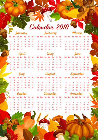 Autumn harvest calendar 2018 template of seasonal pumpkin, corn or berries and mushrooms. Vector design of maple leaf fall or oak acorn and birch or poplar and autumn chestnut falling foliage