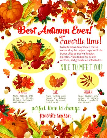 Autumn Time wenst citaten poster sjabloon voor seizoensgebonden vakantie groet. Vector herfst oogst pompoen, maïs of bos paddestoel en rowan bessen, esdoorn of berk en populier blad herfst en eiken eikels