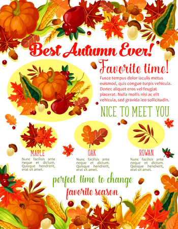 Autumn Time wishes quotes poster template for seasonal holiday greeting. Vector autumn harvest of pumpkin, corn or forest mushroom and rowan berries, maple or birch and poplar leaf fall and oak acorns Ilustracja