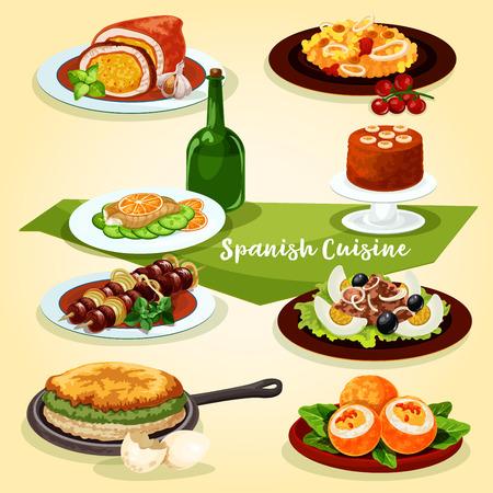 Spanische Küche Mittagessen mit Dessert Cartoon-Symbol Standard-Bild - 84700242